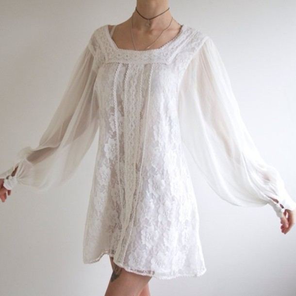 Gypsy White Long Sleeve Dress - Shop for Gypsy White Long Sleeve ...