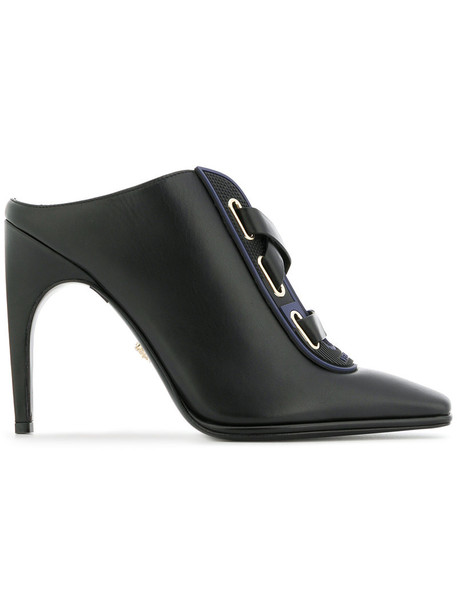 VERSACE women mules leather black shoes