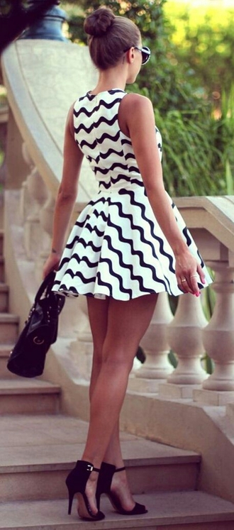 dress shoes white/black monochrome black and white pattern skater dress graduation dress black and white dress black dress bag black heels mini dress little black dress chevron dresses fit and flare dress stripes black and white