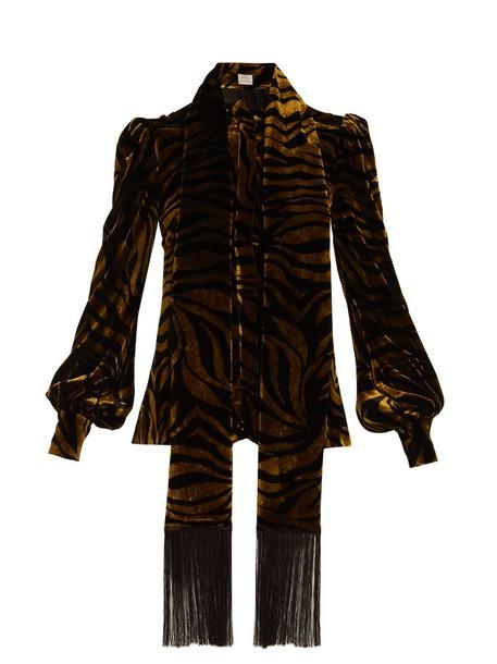 Hillier Bartley blouse zebra print velvet gold black top