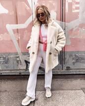 coat,teddy bear coat,oversized coat,pants,white pants,wide-leg pants,sneakers,platform sneakers,crossbody bag,white blouse,sunglasses
