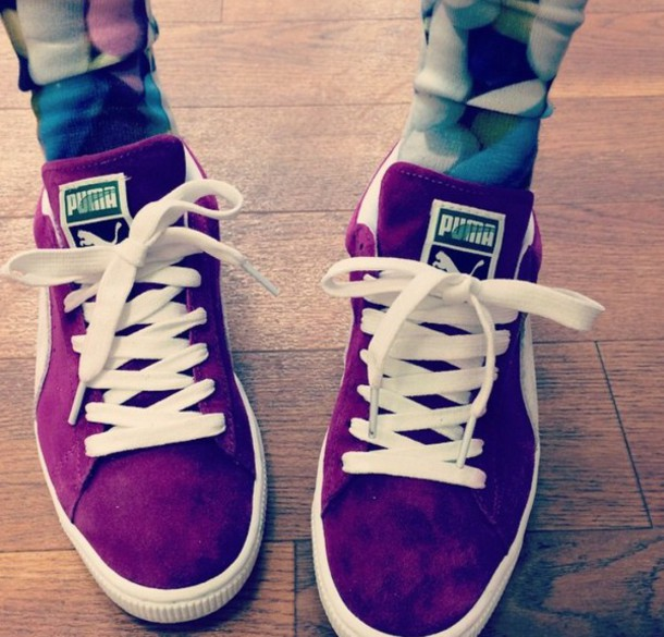 33fe48e7b264 shoes maroon pumas pants burgundy shoes puma suede sneakers
