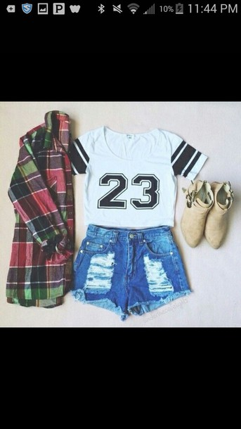 t-shirt plaid shirt shoes shorts