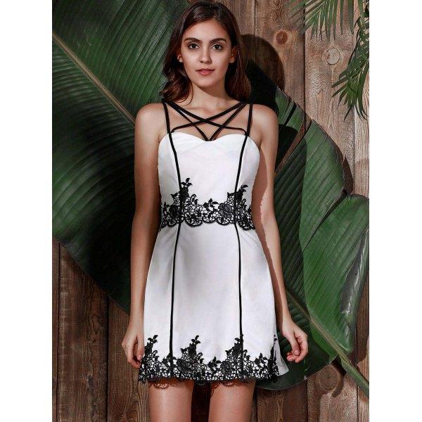 Trendy Spaghetti Strap Patch Lace Mini Dress For Women