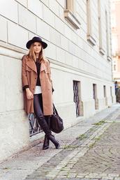 fashion gamble,blogger,hat,camel coat,leather pants,coat,sweater,blouse,jeans,shoes,bag