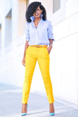 blogger shirt pants shoes yellow pants blue shirt high heels pumps