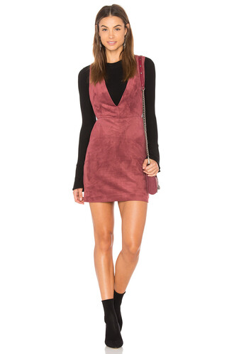dress overall dress suede red