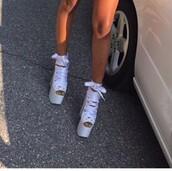 shoes,platform shoes,tan white platform heels,heels,platform lace up boots,white shoes,rihanna,nicki minaj,pumps,peep toe heels