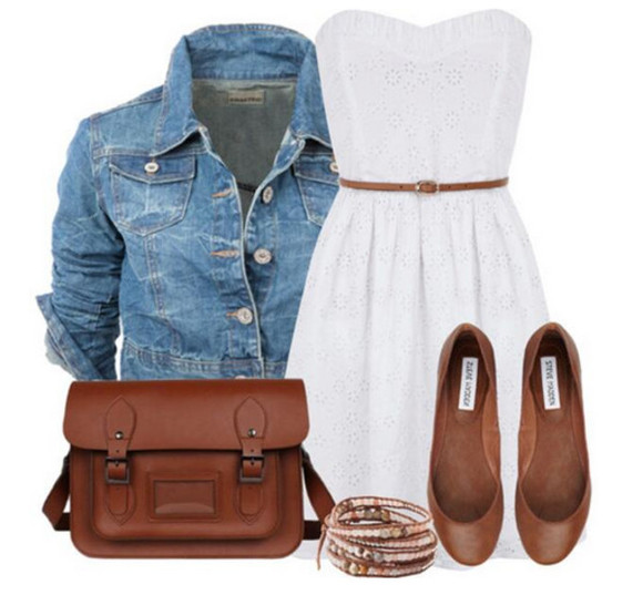 brown bag dress white dress denim jacket