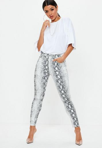Missguided - Gray Snake Print Skinny Jeans