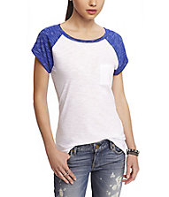 SPACE DYED SHORT SLEEVE BASEBALL TEE from EXPRESS