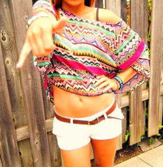 shirt white shorts aztec off the shoulder baggy multicolor summer tank top multicolour top pink crop tops boho hipster off the shoulder crop top cropped black blue green t-shirt mini shorts yellow white summer outfits belt shorts