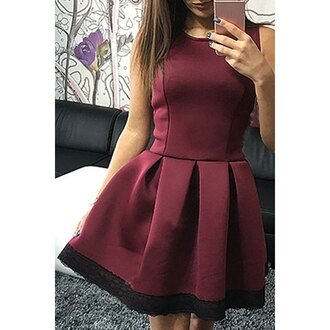 dress black fashion style trendy cute girly burgundy clothes adorable outfit elegant classy rose wholesale-jan