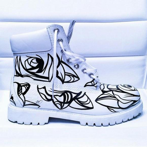 roses timberlands timberland boots shoes timbs ?? white timberland boots white timbs white floral timbs rose timbs