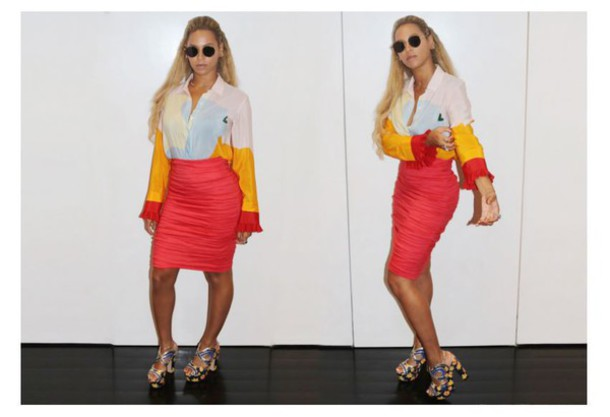 sunglasses blouse skirt sandals beyonce pencil skirt