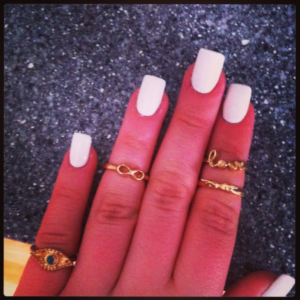 barry m, white, gold, rings cute summer, acrylic nails ...