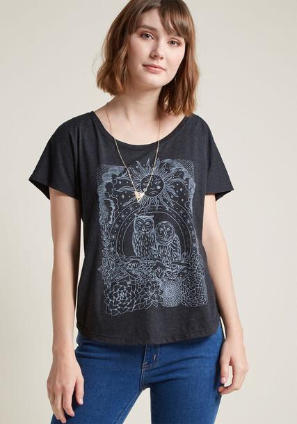 D6869 t-shirt shirt graphic tee t-shirt loose style light fit print grey top