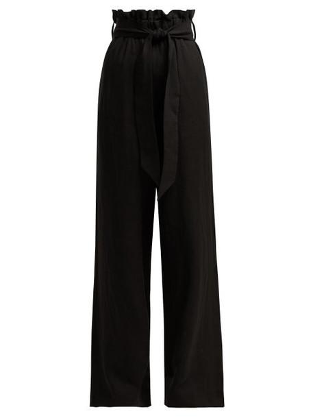 Asceno - Paperbag Waist Linen Trousers - Womens - Black