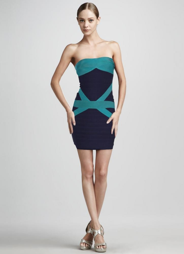 Bqueen green deep blue strapless bandage dress h206