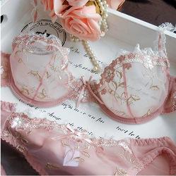 Online shop new women embroidery transparent bra plus size lace bra brief sets sexy lingerie bikini intimates set 32abcd/42cd 9126#