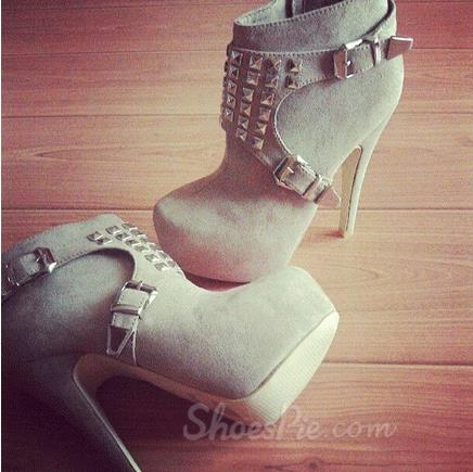 2014 New Arival Gray Suede Platform High Heel Boots with Rhinestone & Rivets Decoration