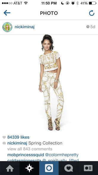 pants spring outfits nicki minaj gold chain white gold jumpsuit shirt