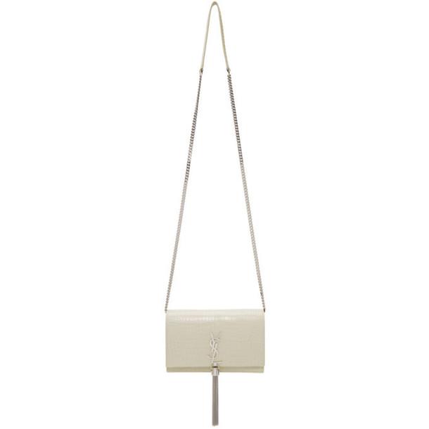 Saint Laurent White Croc Kate Tassel Chain Wallet Bag