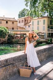 dress,tumblr,vacation outfits,midi dress,white dress,slip dress,bag,basket bag,scarf,hat,sun hat