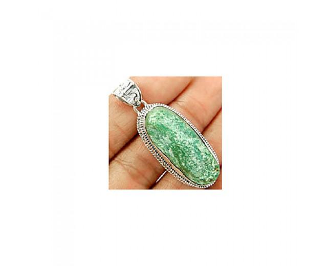 Handmade 925 sterling silver Fuchsite (Green Muscovite) Pendant