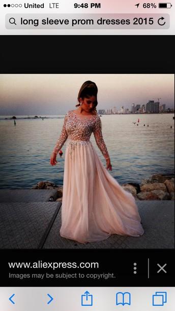 dress prom dress pink dress gown diamond sheer