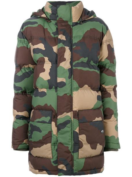Moschino jacket women camouflage spandex wool green