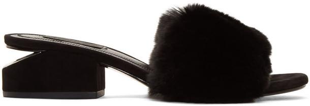 Alexander Wang fur sandals black shoes