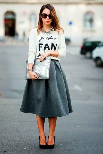 skirt wool skirt wool midi skirt wool midi skirt pumps necklace statement necklace blogger streetstyle grey skirt white sweater black heels quote on it