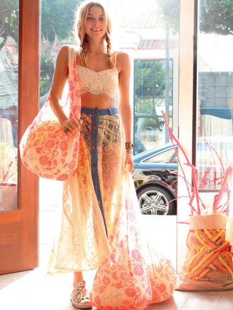 skirt maxi skirt crop lace top lace indie boho braids