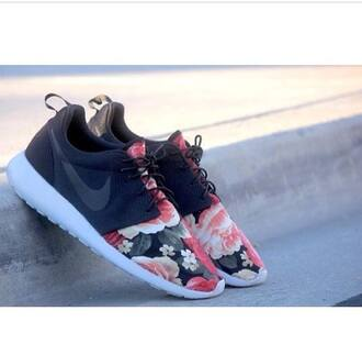 shoes nike nike roshe run floral special design sneakers sneakers