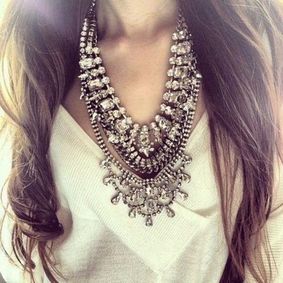jewels necklace silver diamonds coachella boho gypsy festival bib girly big cute