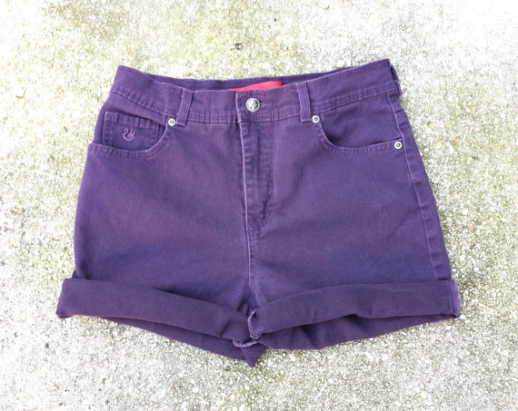 High Waisted Denim Shorts  Vintage Eggplant by TomieHarleneVintage
