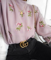 sweater,top,floral sweater,floral,pastel,pastel sweater,pastel floral sweater,knit,dusty pink,pink flowers,lila,violet,purple,purple flowers,sweatshirt,pink,flowers,embroidered,high neck,pullover,roses,lilac,tumblr,cute,pink sweater,embroided sweater,floral embroided,gucci