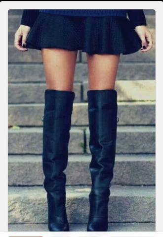 knee high boots high heels thick heel fall outfits