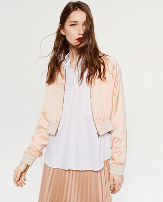 jacket pink satin bomber jacket