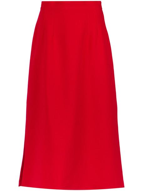 Olympiah - side slits midi skirt - women - Polyester/Spandex/Elastane - 38, Red, Polyester/Spandex/Elastane