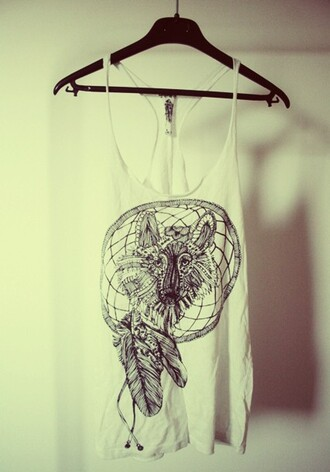 t-shirt tops wolf summer dream catcher
