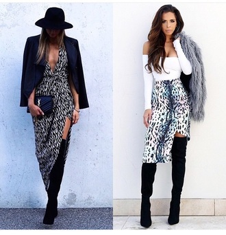 dress hat outfit boots blazer jacket summer outfits slit dress slit skirt skirt long sleeves leopard print sexy party dresses top