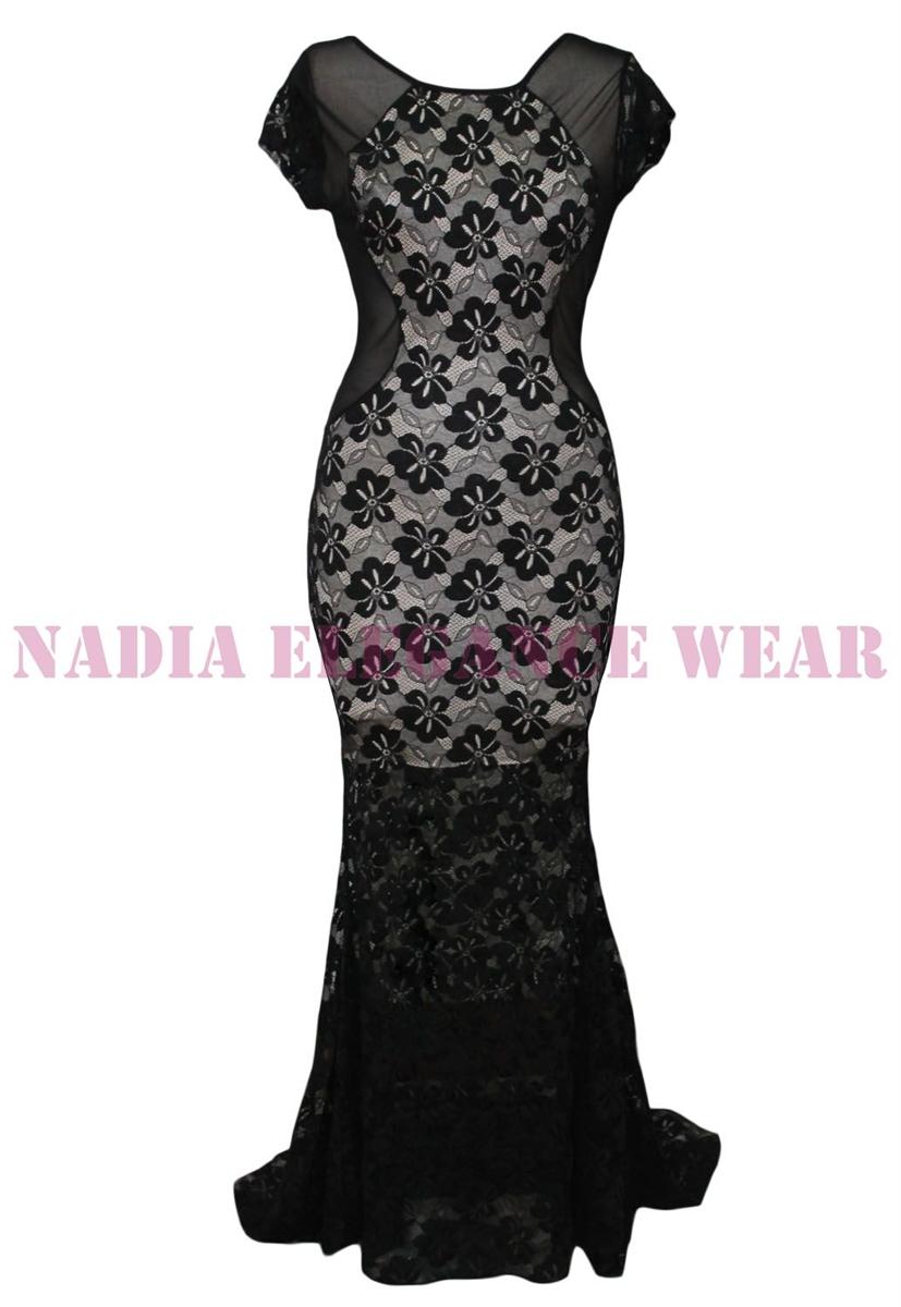 Nadia elegance wear long lace backless mermaid maxi dresses