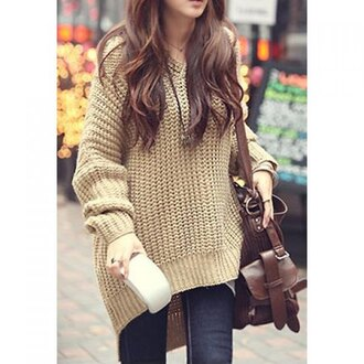 sweater beige korean fashion knitwear oversized sweater knitted sweater bag knitted dress casual autumn/winter streetwear warm lookbook comfy