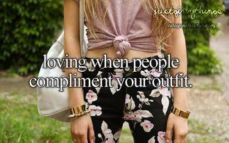 shirt pants floral floral pants bracelets bangels bag long hair black pants loose shirt tied shirt