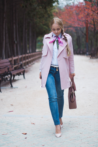 my blonde gal blogger pink coat trench coat