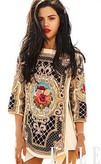 dress selena gomez elle baroque magazine floral balmain