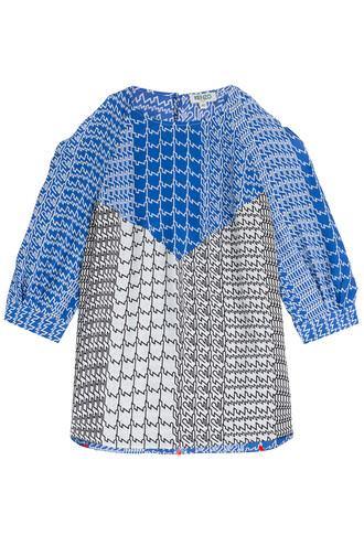 blouse cut-out silk multicolor top