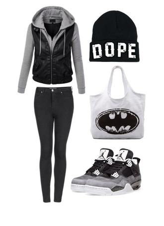 shoes black jeans dope beanie dope beanie batman jordans sweater jacket